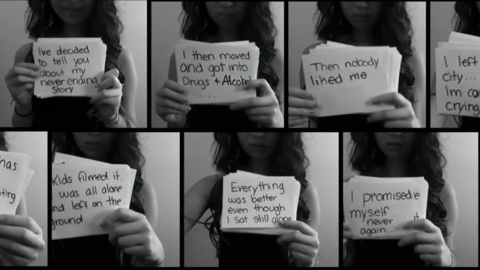 Amanda Todd, a bullied teen who committed suicide, is seen in these images taken from her YouTube video.