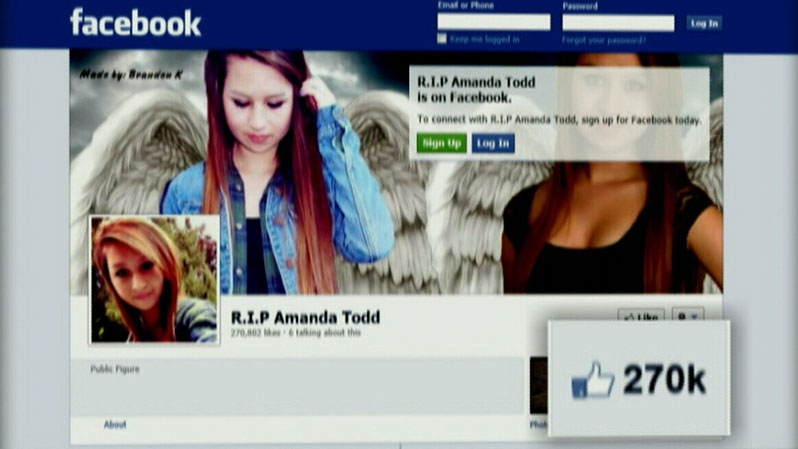 A Facebook page in Amanda Todd's memory has more than 200,000 likes.