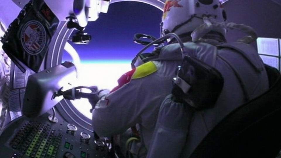Pilot Felix Baumgartner prepares to jump from the stratosphere aboard a space capsule on Sunday, Oct. 14, 2012.