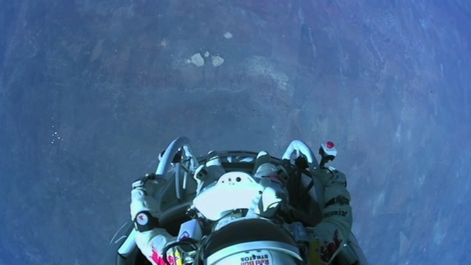 Pilot Felix Baumgartner prepares to jump from the stratosphere aboard a capsule on Sunday, Oct. 14, 2012.