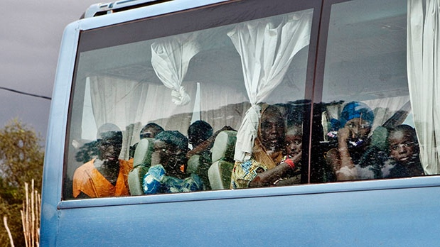 In this Thursday, Sept. 27, 2012 photo, a bus carrying passengers from Gao in Mali's Islamist-controlled north to the capital, Bamako, makes a stop in Mopti, Mali. (AP)