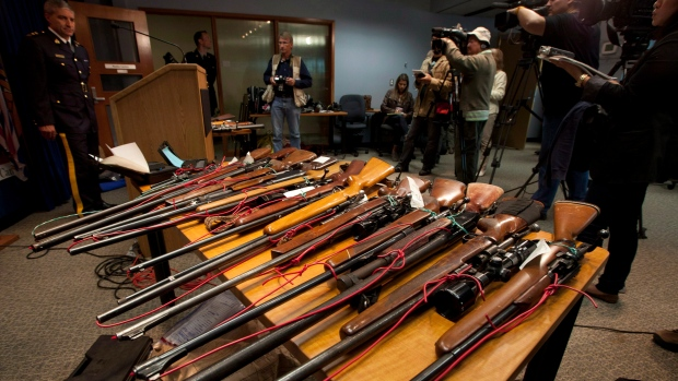 Seized firearms on display