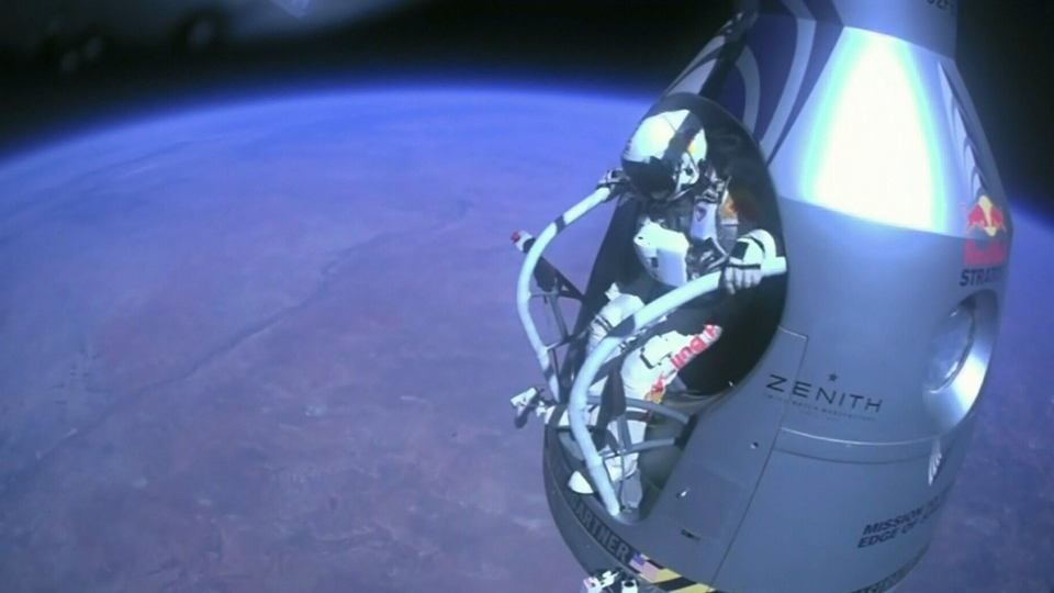 Pilot Felix Baumgartner jumps from the stratosphere aboard a space capsule on Sunday, Oct. 14, 2012.