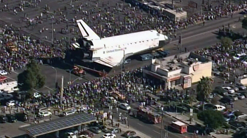 The space shuttle Endeavour arrives in L.A. on Sunday, Oct. 14, 2012.