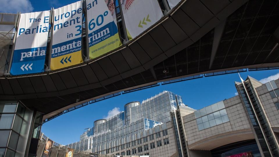 The European Parliament in Brussels, Friday, Oct. 12, 2012. (AP / Geert Vanden Wijngaert)