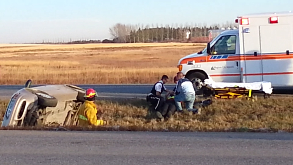 Highway crash near Pilot Butte | CTV News