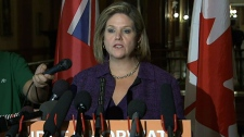 NDP Leader Andrea Horwath speaks to the media in T