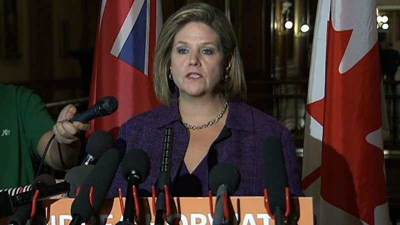 NDP Leader Andrea Horwath speaks to the media in Toronto on Monday, Oct. 15, 2012.