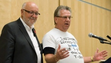 CAW President Ken Lewenza (right) and Communicatio