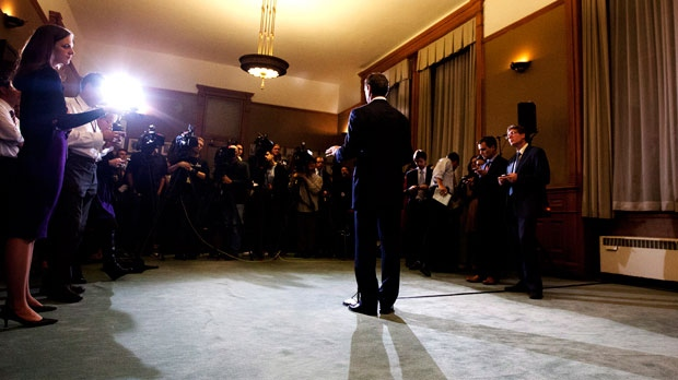 Ontario Premier Dalton McGuinty speaks to the media at Queen's Park after announcing his resignation in Toronto on Monday, October 15, 2012. (The Canadian Press/Michelle Siu)