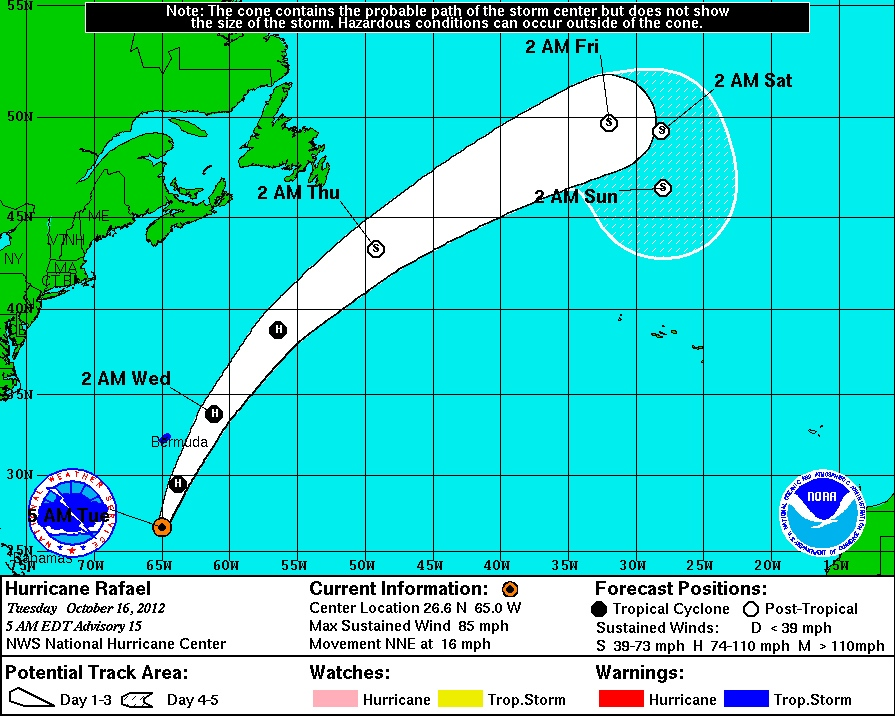 This NOAA 5-day forecast cone predicts the path of Hurricane Rafael