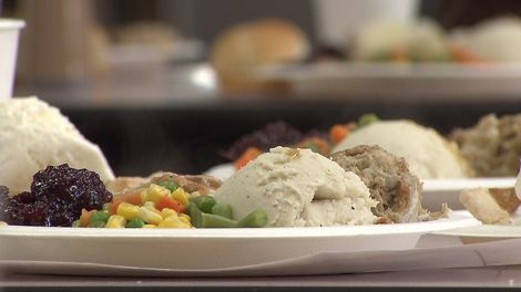 Thousands of residents in Vancouver's Downtown Eastside enjoyed a Thanksgiving feast at the Union Gospel Mission on Oct. 11, 2010. (CTV)