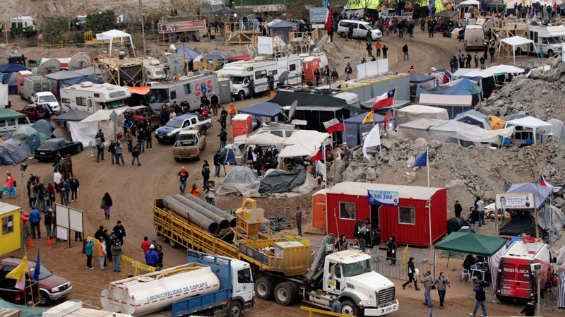 A view of the camp where relatives of trapped miners and the media wait for news outside the San Jose mine near Copiapo, Chile, Monday Oct. 11, 2010.   (AP / Jorge Saenz)
