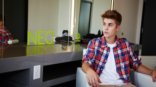 Justin Bieber in an Adidas NEO Label photo.