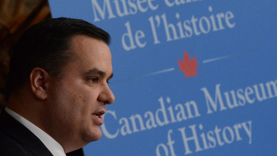 Heritage Minister James Moore makes an announcement at the Canadian Museum of Civilization in Gatineau, Que., Tuesday, Oct.16, 2012. (Sean Kilpatrick / THE CANADIAN PRESS)
