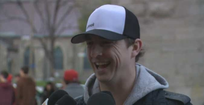 New Hab Colby Armstrong was all smiles Tuesday, hoping he could take a road hockey game back to the ice soon.