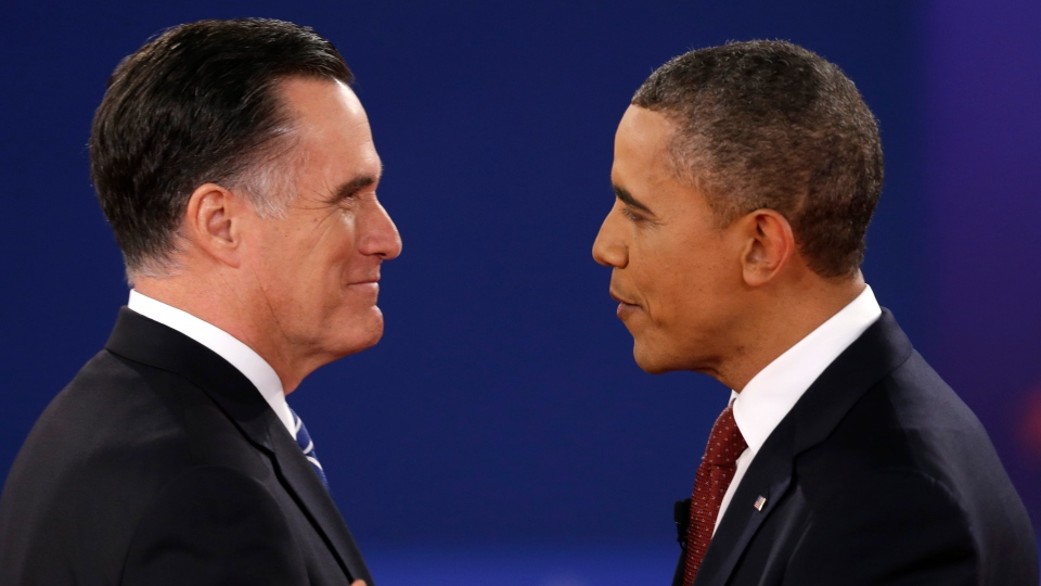 U.S. President Barack Obama greets Republican presidential nominee Mitt Romney at the start of the second presidential debate at Hofstra University, Tuesday, Oct. 16, 2012, in Hempstead, N.Y. (AP / David Goldman)