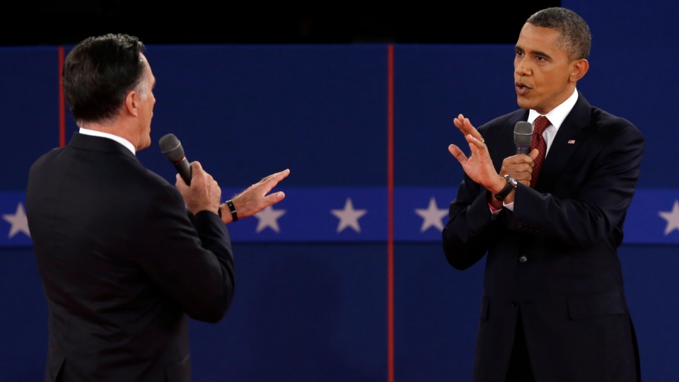 Republican presidential nominee Mitt Romney and U.S. President Barack Obama spar over energy policy during the second presidential debate at Hofstra University in Hempstead, N.Y., Tuesday, Oct. 16, 2012. (AP / Charlie Neibergall)