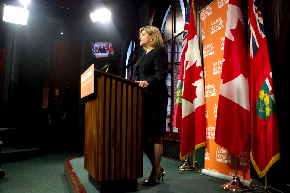 Ontario NDP Leader Andrea Horwath addresses the press at the Ontario Legislature in Toronto on Tuesday Oct. 16, 2012. (Chris Young / THE CANADIAN PRESS)