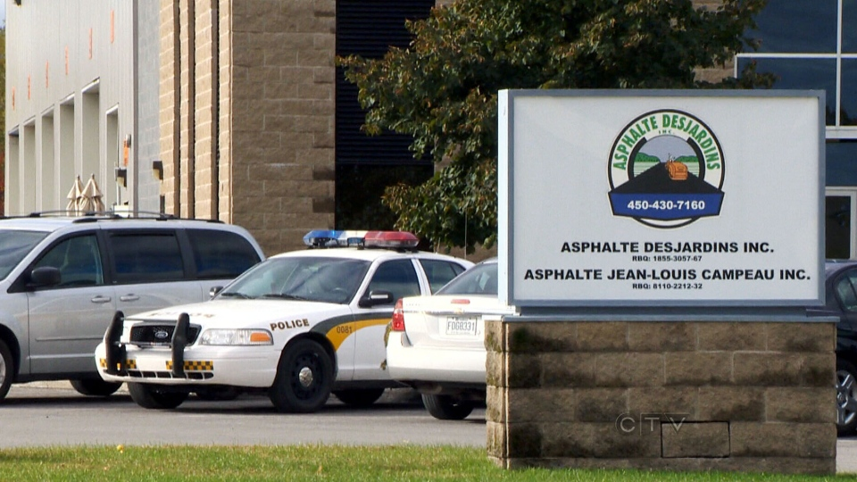 Asphalte Desjardins, was raided by Quebec's anti-corruption squad, along with two other firms, Tuesday, Oct. 16, 2012.
