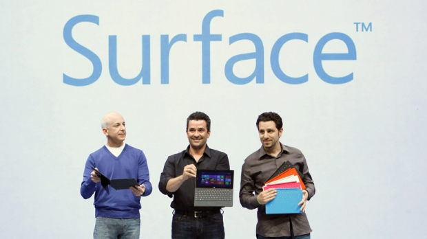 Microsoft's Surface products on June 18, 2012.