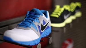 In this Monday, March 19, 2012, file photo, Nike shoes are displayed at Modell's Sporting Goods in Philadelphia. (AP Photo/Matt Rourke, File)