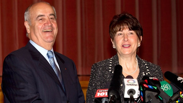 Julian Fantino laughs with his wife Liviana after announcing his intention to run for federal Parliament in a news conference in Woodbridge, Ontario on Tuesday October 12, 2010. (Frank Gunn / THE CANADIAN PRESS)