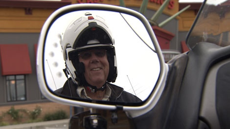Motorcyclist John Waddington says he has been charged too much nine times out of 12 crossings of the Golden Ears Bridge. Oct. 12, 2010. (CTV)