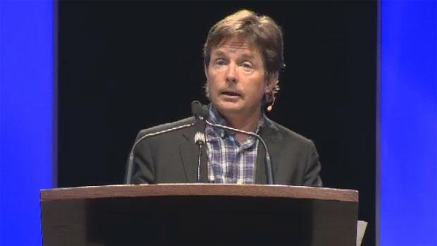 Michael J. Fox speaks at the Atlantic Dream Festival in Halifax on Oct. 17, 2012