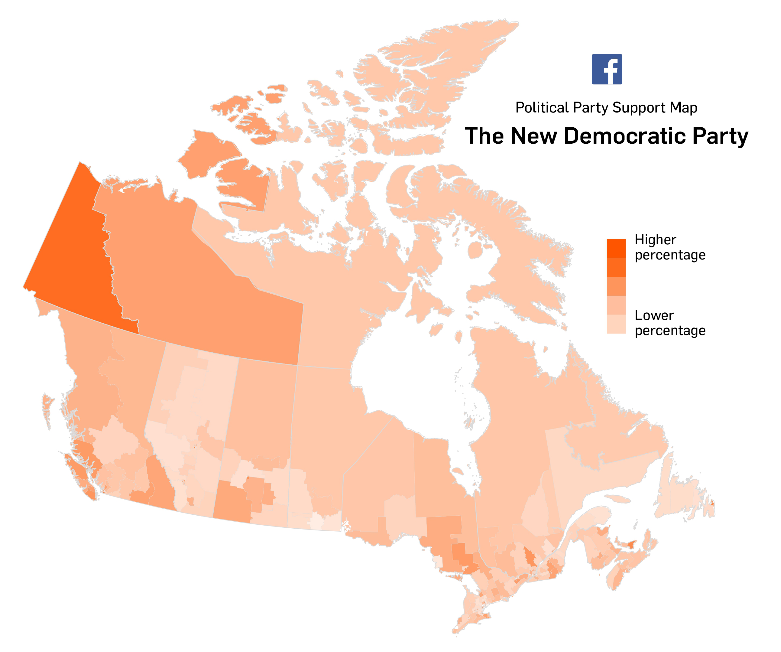 Interactive Facebook Party Support Maps - Canada political map
