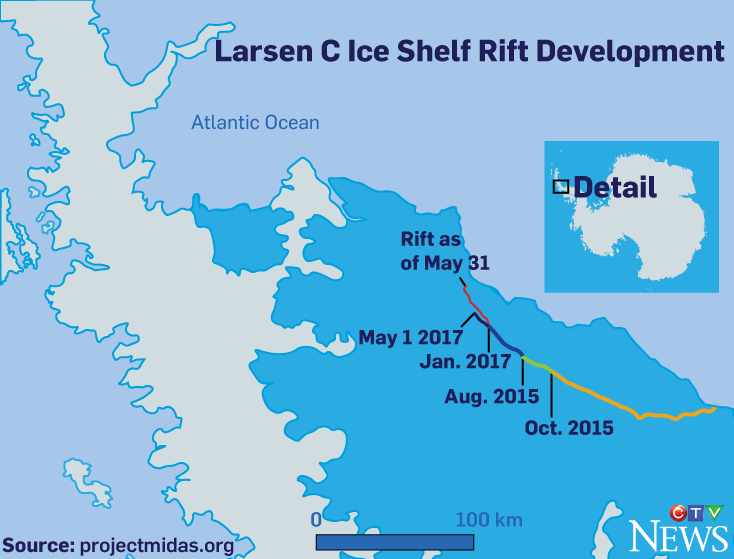 Larsen C ice shelf rift development (graphic by Nick Kirmse / CTVNews.ca)