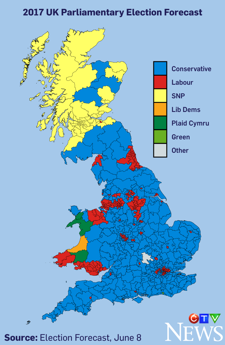 the latest predictions from election forecast a uk elections think tank that combines data from